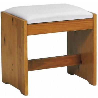 Tabouret avec assise rembourrée contemporain marron en bois massif pin L. 35 x H. 46 cm collection Fontane