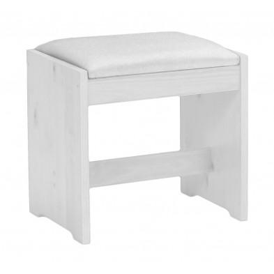 Tabouret avec assise rembourrée contemporain blanc L. 46 x H. 46 cm collection Fontane