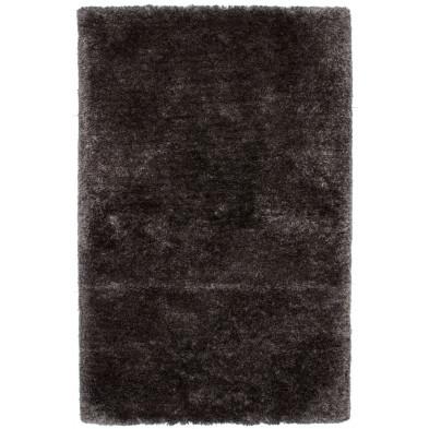 Tapis unicolore argenté moderne tissé à la machine en polyester L. 170 x P. 120 x H. 5,5 cm collection Wechsler