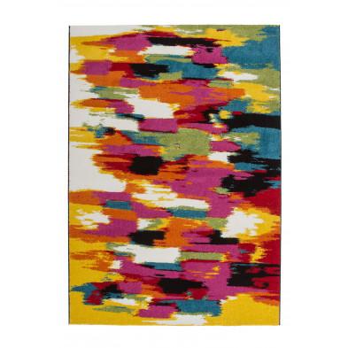 Tapis design multicouleur en polypropylène heatset frisée L. 150 x P. 80 x H. 1,7 cm Collection Smeralda