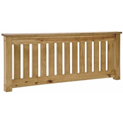 Tête de lit contemporaine marron en bois massif pin L. 152 x P. 8,5 x H. 56 cm collection Preore
