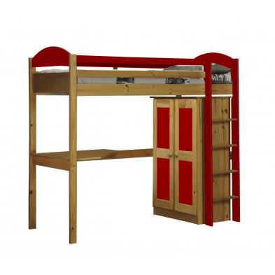 Lit mezzanine 90 x 200 cm contemporain rouge en bois massif Collection Blakemere