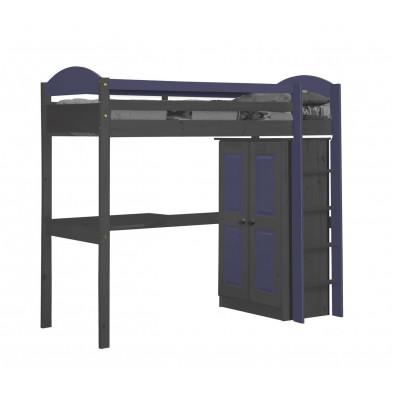 Lit mezzanine 90 x 200 cm  contemporain bleu  en bois massif collection Blakemere