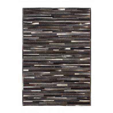 Tapis retro & patchwork gris vintage tissé à la main en cuir véritable L. 150 x P. 80 x H. 0,8 cm  collection Greensburg