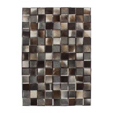 Tapis vintage en cuir véritable gris avec des motifs cubisme L. 230 x P. 160 x H. 0,8 cm Collection Osinga
