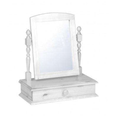 Miroir sur pied contemporain blanc L. 56 x H. 26 cm collection Genoveffa