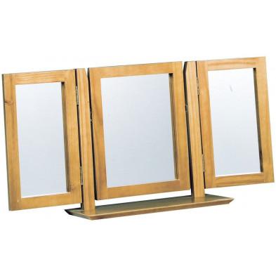 Miroir sur pied contemporain marron en bois massif pin L. 51 x H. 23 cm collection Genoveffa