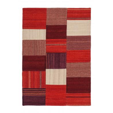 Tapis retro & patchwork beige contemporain tissé à la main en 80% laine et 20% coton 1L. 170 x P. 120 x H. 1,2 cm collection Setteca