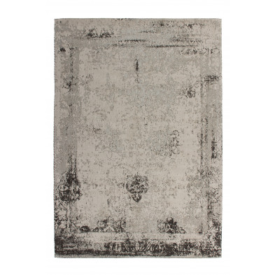 Tapis retro & patchwork gris vintage tissé à la main en 50% coton et 50% polyester chenille L. 170 x P. 120 x H. 1 cm  collection Waalre