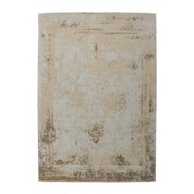 Tapis retro & patchwork beige vintage tissé à la main en 50% coton et 50% polyester chenille L. 290 x P. 200 x H. 1 cm  collection Waalre