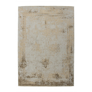 Tapis retro & patchwork beige vintage tissé à la main en 50% coton et 50% polyester chenille L. 150 x P. 80 x H. 1 cm  collection Waalre