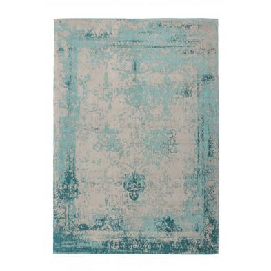Tapis vintage bleu avec des motifs rayé  L. 170 x P. 120 x H. 1 cm Collection Waalre