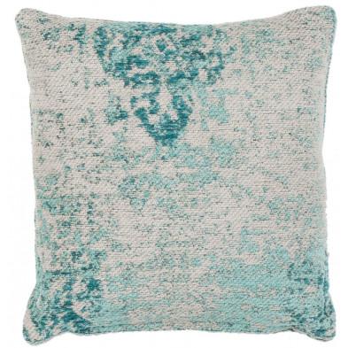 Coussin et oreiller bleu vintage tissé à la main en 50% coton et 50% polyester chenille L. 45 x P. 45 cmcollection Waalre