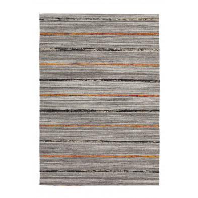 Tapis retro & patchwork gris vintage tissé à la main en 60% laine + 20% coton et 20% soie artificielle L. 150 x P. 80 x H. 1,6 cm collection Sobreda