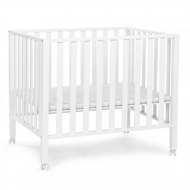 Parc pour bébé avec roues design blanc en bois massif hêtre et bois MDF 75 x 95 cm Collection Tebin