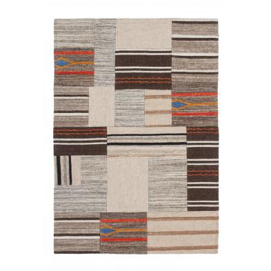 Tapis retro & patchwork beige contemporain tissé à la main en 80% laine et 20% coton L. 230 x P. 160 x H. 1,2 cmr collection Setteca