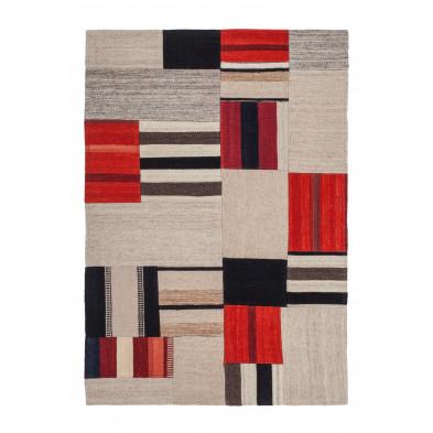 Tapis retro & patchwork multicouleur contemporain tissé à la main en 80% laine et 20% coton  L. 230 x P. 160 x H. 1,2 cm collection Setteca