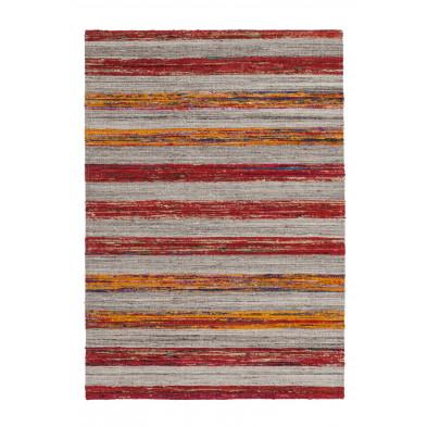 Tapis vintage tissé à la main en 60% laine + 20% coton et 20% soie artificielle coloris gris L. 170 x P. 120 x H. 1,6 cm Collection Sobreda