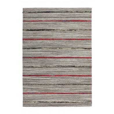 Tapis retro & patchwork gris vintage tissé à la main en 60% laine + 20% coton et 20% soie artificielle L. 230 x P. 160 x H. 1,6 cm collection Sobreda