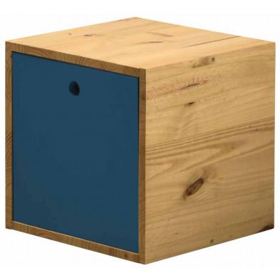 Boîte - panier contemporain bleu en bois massif pin L. 35,5 x H. 35,5 cm collection Vladimir