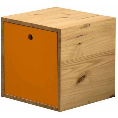 Boîte - panier contemporain orange en bois massif pin L. 35,5 x H. 35,5 cm collection Vladimir