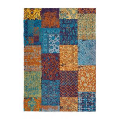 Tapis retro & patchwork multicouleur vintage tissé à la main en coton chenille L. 170 x P. 120 x H. 1 cm collection Naomie