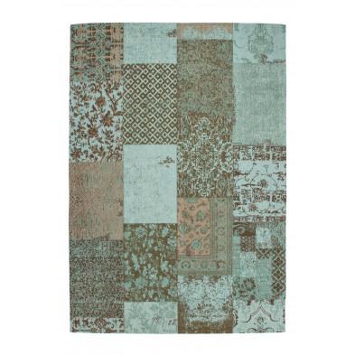 Tapis retro & patchwork bleu vintage tissé à la main en coton chenille L. 150 x P. 80 x H. 1 cm  collection Naomie