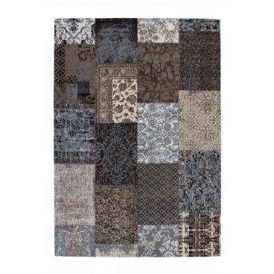Tapis retro & patchwork marron vintage tissé à la main en coton chenille L. 150 x P. 80 x H. 1 cm collection Naomie