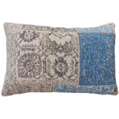 Coussin et oreiller bleu vintage tissé à la main en coton chenille L. 60 x P. 40 x H. 2,5 cm collection Naomie
