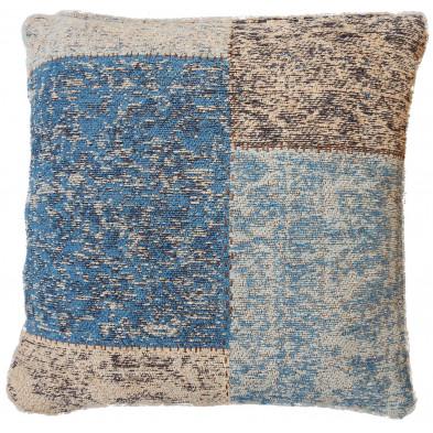 Coussin et oreiller bleu vintage tissé à la main en coton chenille L. 45 x P. 45 x H. 2,5 cm collection Naomie