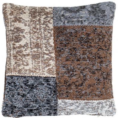 Coussin et oreiller marron vintage tissé à la main en coton chenille L. 45 x P. 45 x H. 0 cm collection Naomie