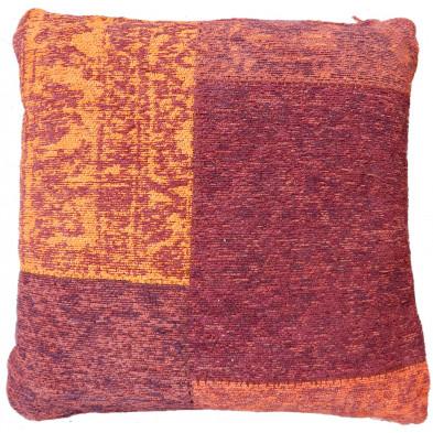 Coussin et oreiller rouge vintage tissé à la main en coton chenille L. 45 x P. 45 x H. 2,5 cm collection Naomie