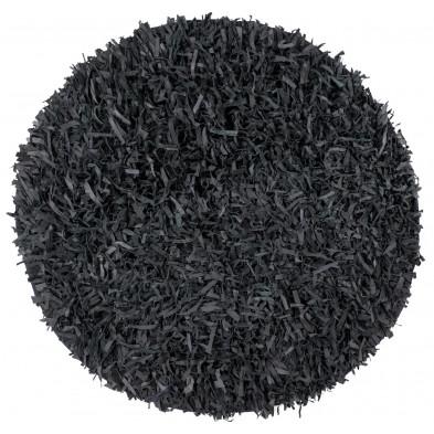 Tapis unicolore noir design tissé à la main en cuir véritable  L. 140 x P. 140 x H. 5 cm collection Seroa