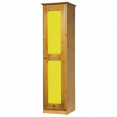Armoire enfant contemporaine jaune en bois massif L. 46 x H. 196 cm collection Genoveffa