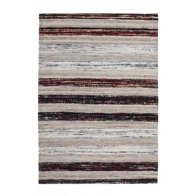 Tapis retro & patchwork gris vintage tissé à la main en 60% laine + 20% coton et 20% soie artificielle 150 cm de largeur collection Sobreda