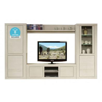 Ensemble meuble tv blanc contemporain en bois massif  collection Ciminna