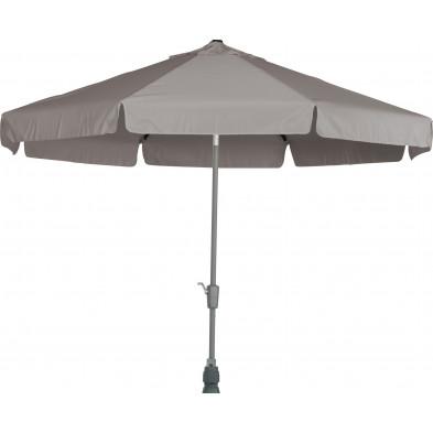 Parasol rond en polyester et aluminium Ø 350 cm coloris taupe collection Giraldo