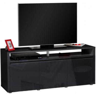 Meuble tv noir design en panneaux de particules de haute qualité L. 150 x P. 45 x H. 65 cm collection Borsje