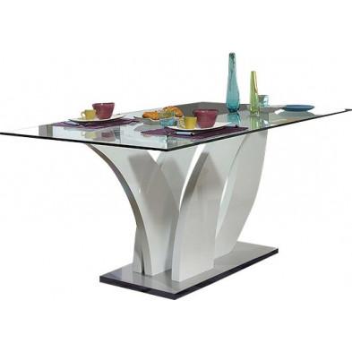 Table de salle à manger en verre blanc design L. 200 x P. 100 x H. 76 cm collection Strike