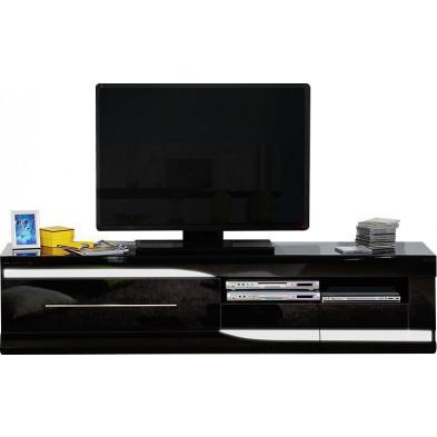 Meuble tv noir design en panneaux de particules de haute qualité L. 200 x P. 50 x H. 45 cm collection Lotenhulle