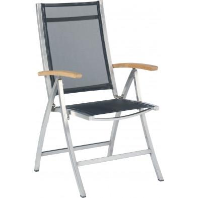 Chaise de jardin avec dossier haut empilable en acier coloris noir L. 59 x P. 45 x H. 108 cm collection Barclay