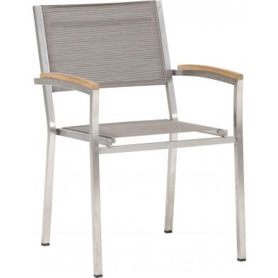 Chaise de jardin empilable en acier coloris moka L. 59 x P. 45 x H. 88 cm collection Barclay