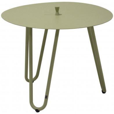 Table d'appoint de jardin design vert en aluminium L. 60 x H. 45 cm x P. 60 cm Collection Jamal