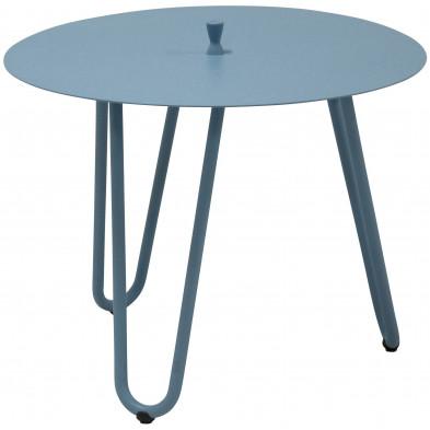 Table d'appoint de jardin design bleu en aluminium L. 60 x H. 45 cm x P. 60 cm Collection Jamal