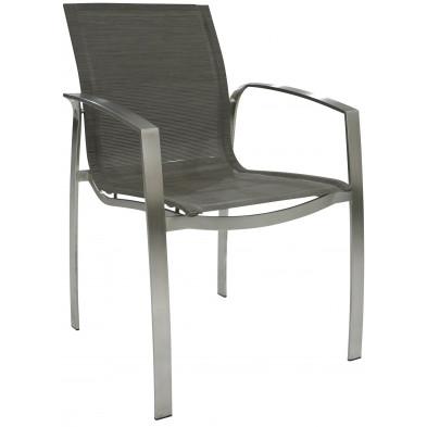 Chaise de jardin en acier et textilène coloris moka L. 60 x P. 43 x H. 86 cm collection Ciriaco