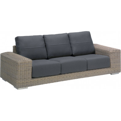 Canapé de jardin 3 places en résine tressée coloris marron et gris L. 238 x P. 69 x H. 66 cm collection Savonera
