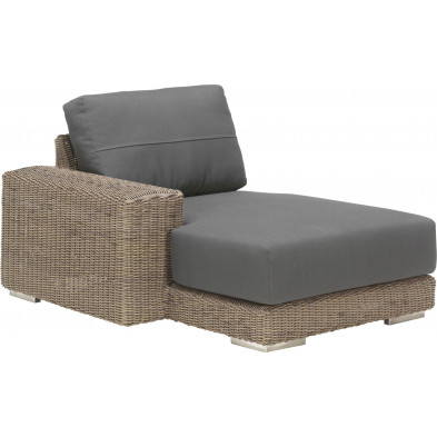 Canapé de jardin avec accoudoir à droite en résine tressée coloris marron et gris  L. 110 x P. 146 x H. 65 cm collection Savonera