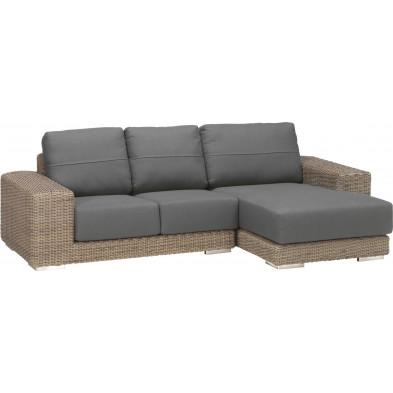 Canapé d'angle de jardin en résine tressée coloris marron et gris  L. 260 x P. 90 -110 x H. 65 cm collection Savonera