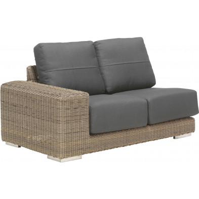 Canapé de jardin 2 places avec accoudoir à droite en résine tressée coloris marron et gris  L. 150 x P. 90 x H. 65 cm collection Savonera