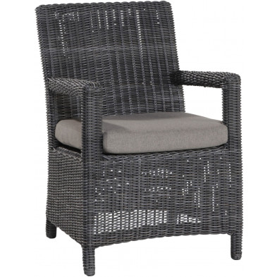 Chaise de jardin en résine tressée coloris charcoal L. 61 x P. 47 x H. 89 cm collection Renatus